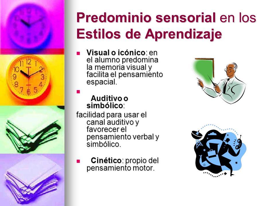 Predominio sensorial en los Estilos de Aprendizaje