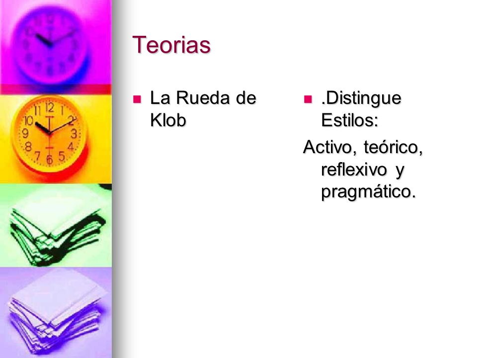Teorias La Rueda de Klob .Distingue Estilos:
