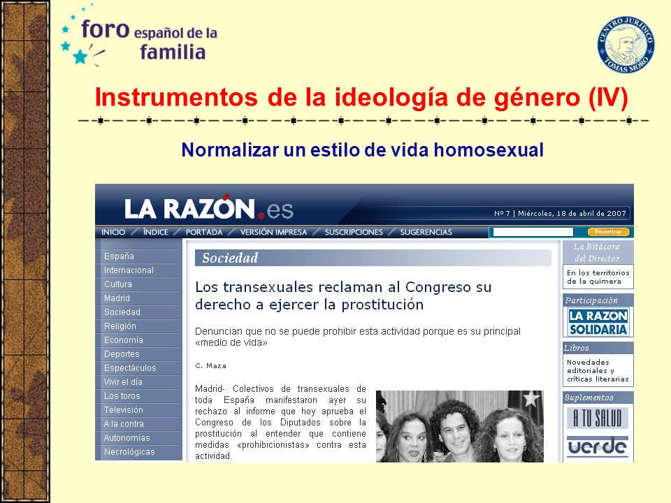 Instrumentos de la ideología de género (IV)