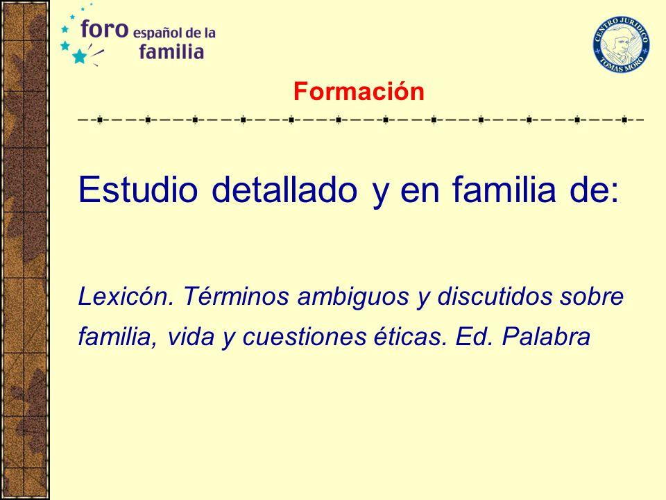 Formación Estudio detallado y en familia de: Lexicón.