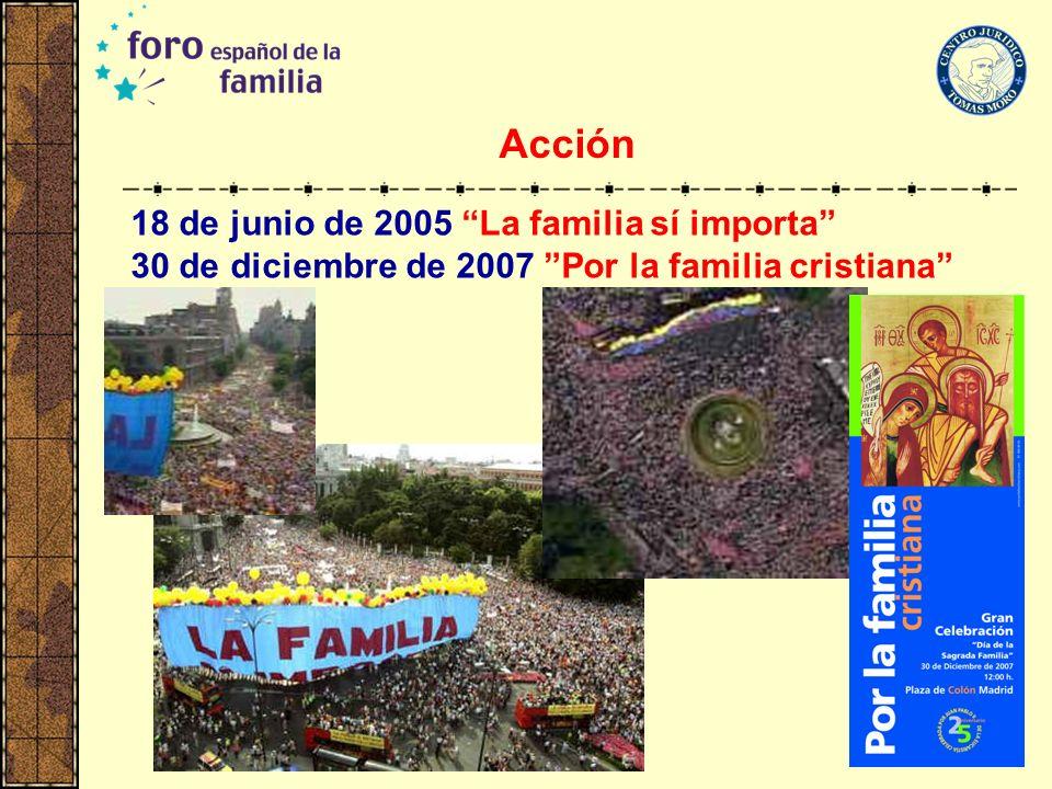 Acción 18 de junio de 2005 La familia sí importa 30 de diciembre de 2007 Por la familia cristiana