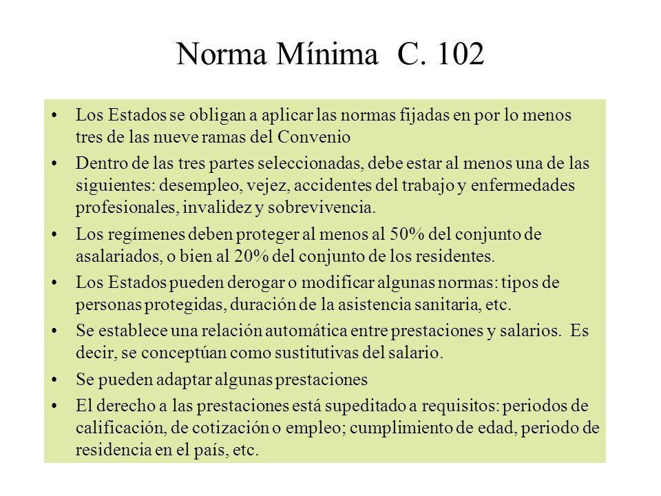 Norma Mínima C. 102 Los Estados se obligan a aplicar las normas fijadas en por lo menos tres de las nueve ramas del Convenio.