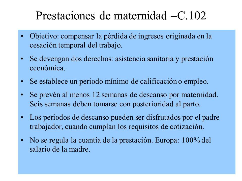Prestaciones de maternidad –C.102
