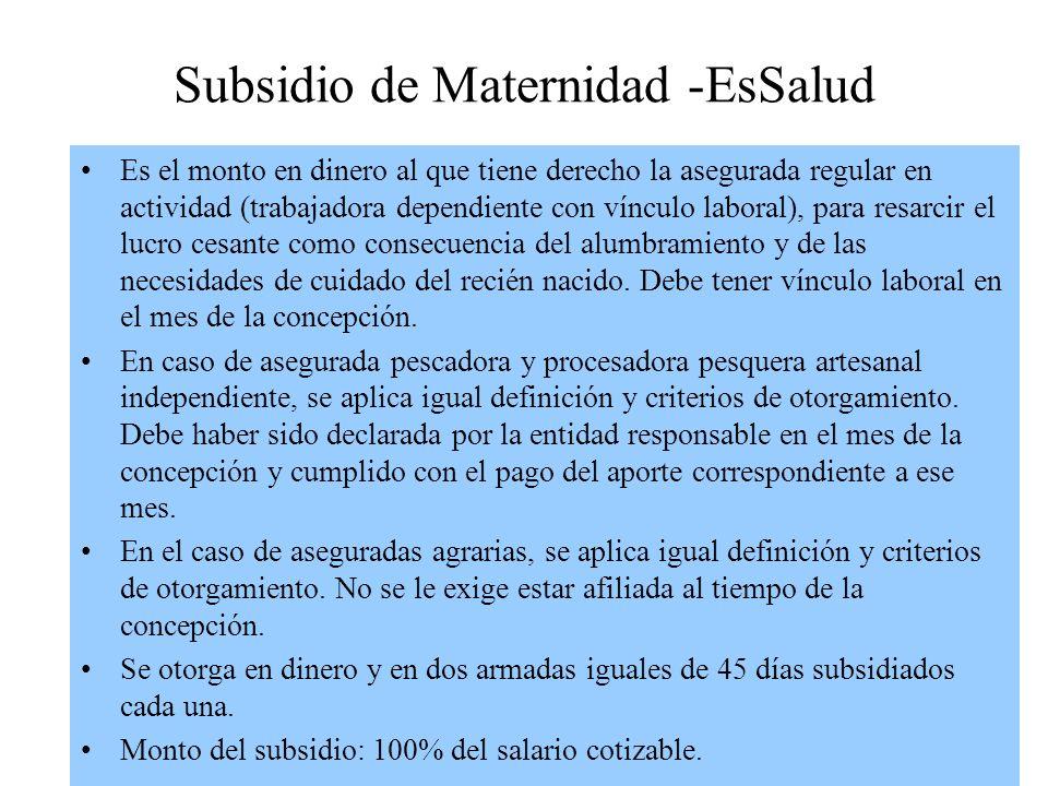 Subsidio de Maternidad -EsSalud