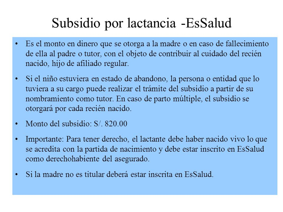 Subsidio por lactancia -EsSalud