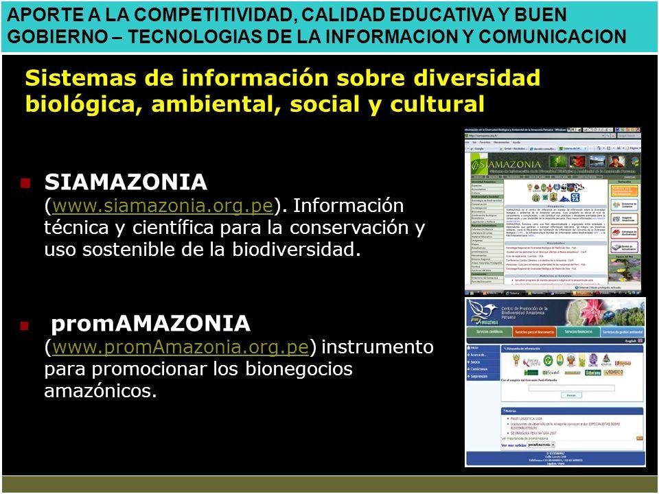 APORTE A LA COMPETITIVIDAD, CALIDAD EDUCATIVA Y BUEN GOBIERNO – TECNOLOGIAS DE LA INFORMACION Y COMUNICACION