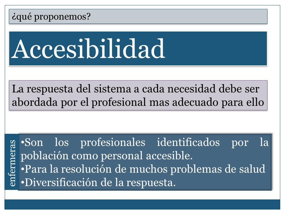 ¿qué proponemos Accesibilidad. La respuesta del sistema a cada necesidad debe ser abordada por el profesional mas adecuado para ello.