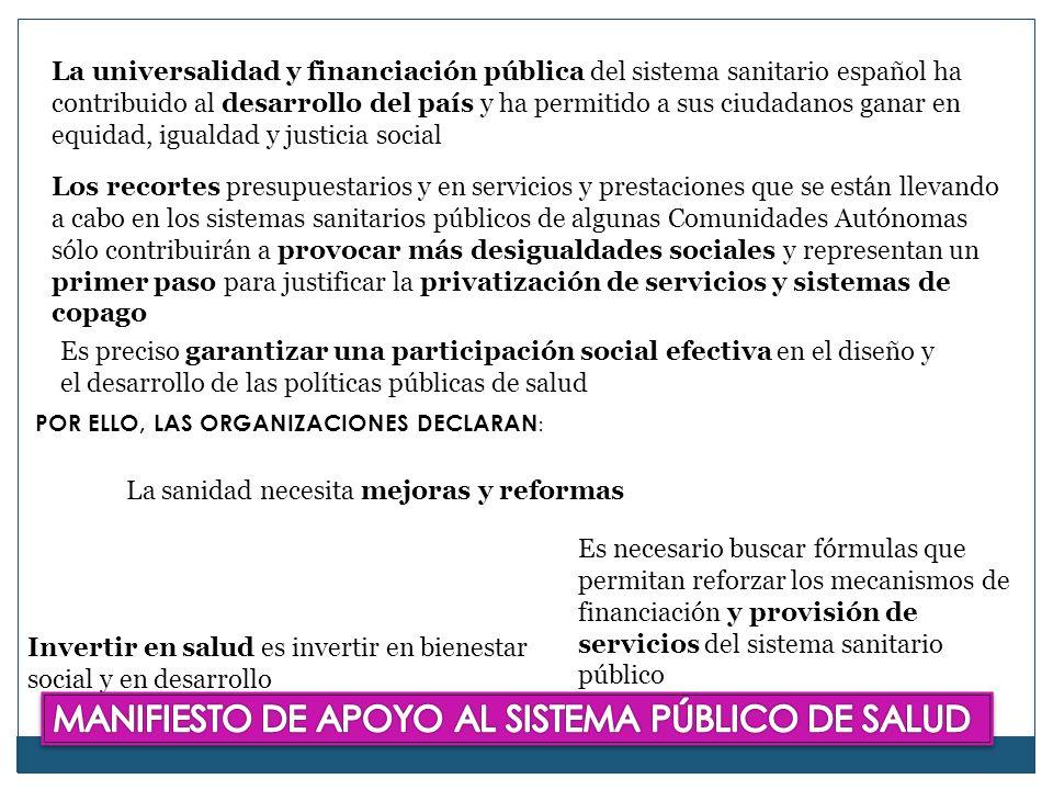 MANIFIESTO DE APOYO AL SISTEMA PÚBLICO DE SALUD