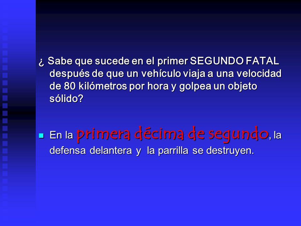 ¿ Sabe que sucede en el primer SEGUNDO FATAL después de que un vehículo viaja a una velocidad de 80 kilómetros por hora y golpea un objeto sólido