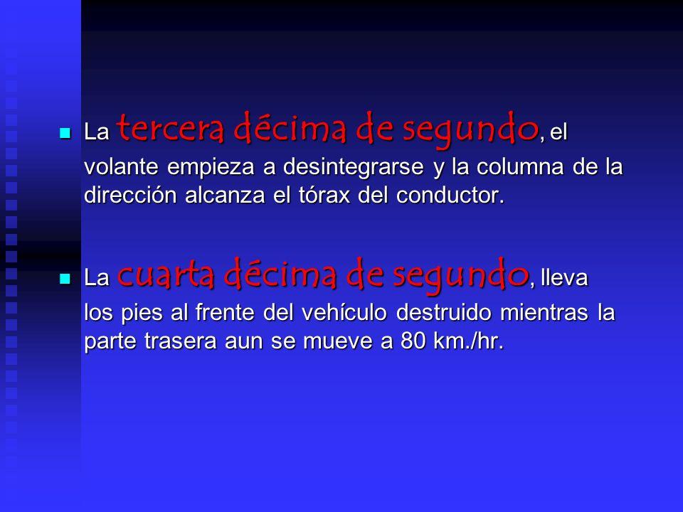 La tercera décima de segundo, el volante empieza a desintegrarse y la columna de la dirección alcanza el tórax del conductor.