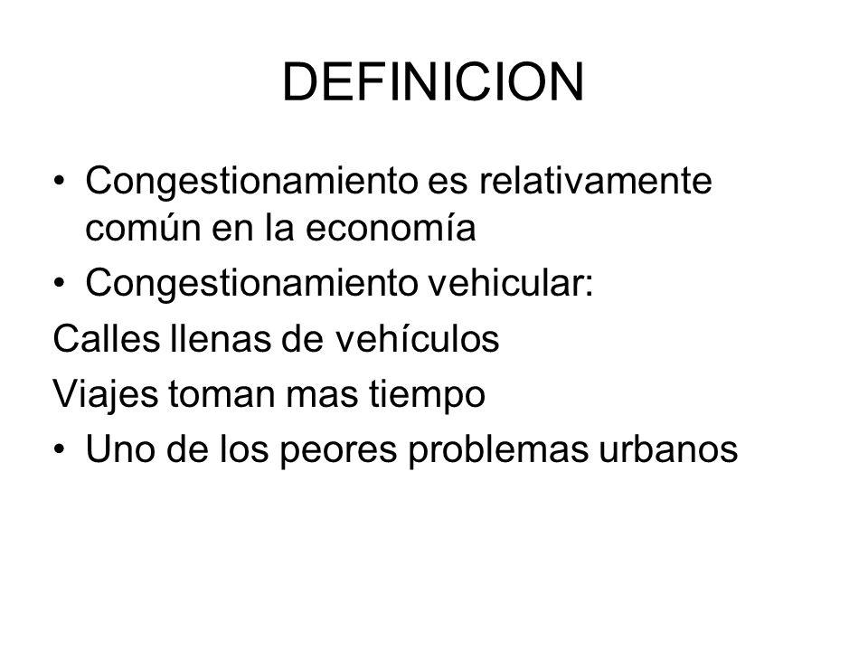 DEFINICION Congestionamiento es relativamente común en la economía
