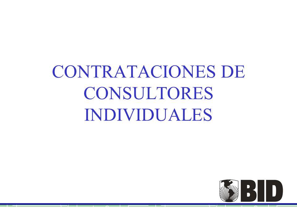 CONTRATACIONES DE CONSULTORES INDIVIDUALES
