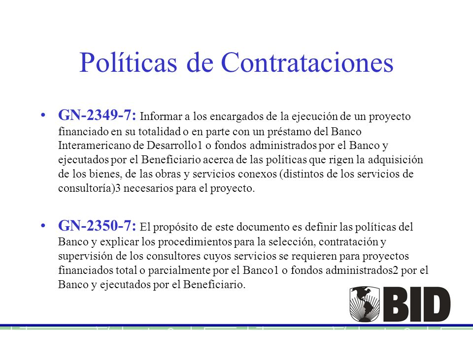 Políticas de Contrataciones