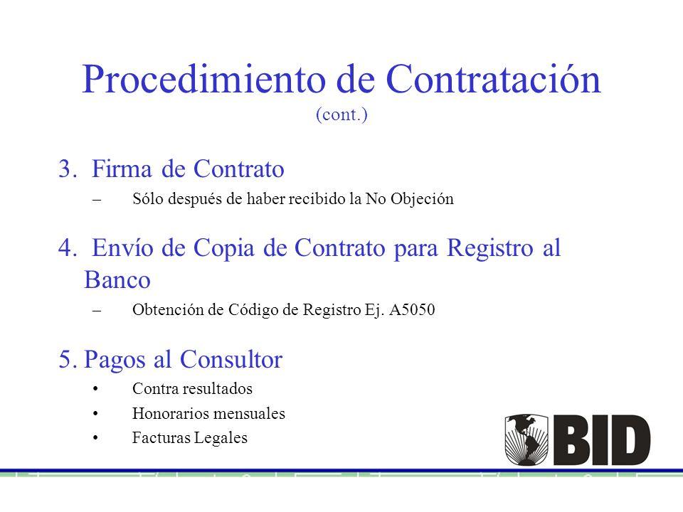 Procedimiento de Contratación (cont.)