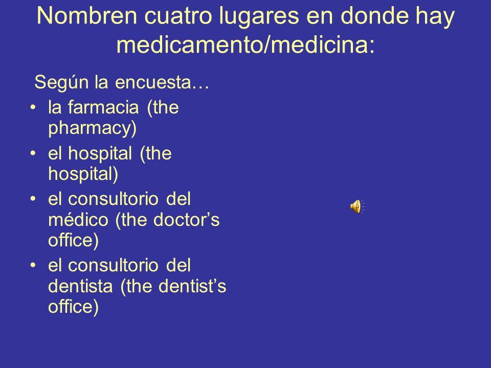 Nombren cuatro lugares en donde hay medicamento/medicina: