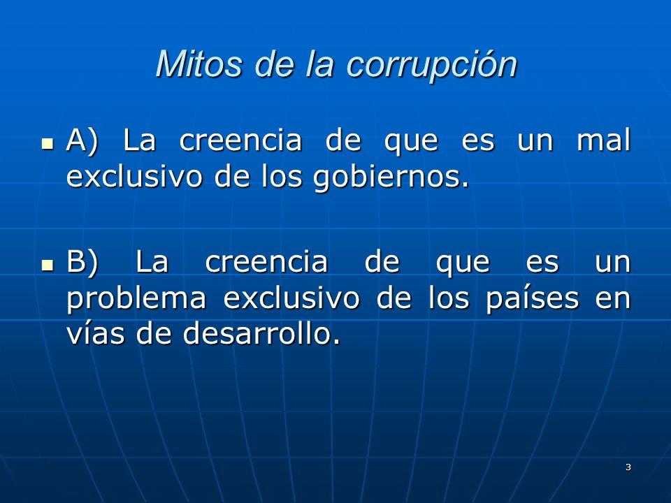 Mitos de la corrupciónA) La creencia de que es un mal exclusivo de los gobiernos.