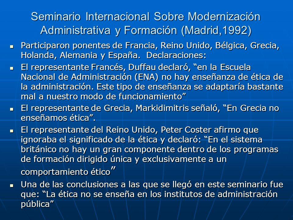 Seminario Internacional Sobre Modernización Administrativa y Formación (Madrid,1992)