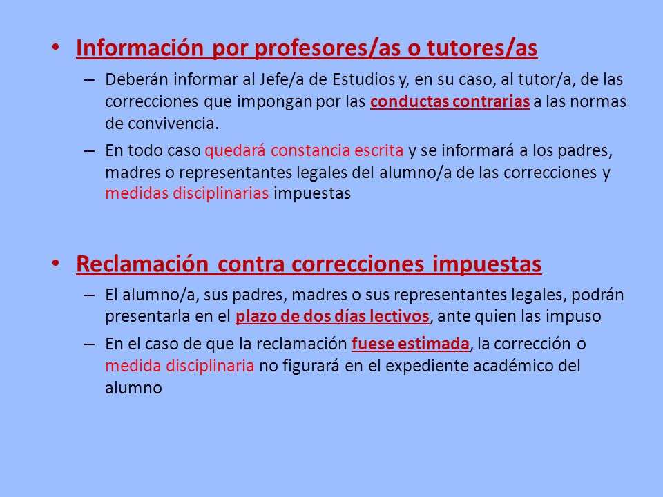 Información por profesores/as o tutores/as