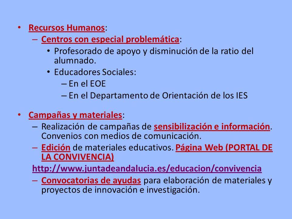 Recursos Humanos: Centros con especial problemática: Profesorado de apoyo y disminución de la ratio del alumnado.