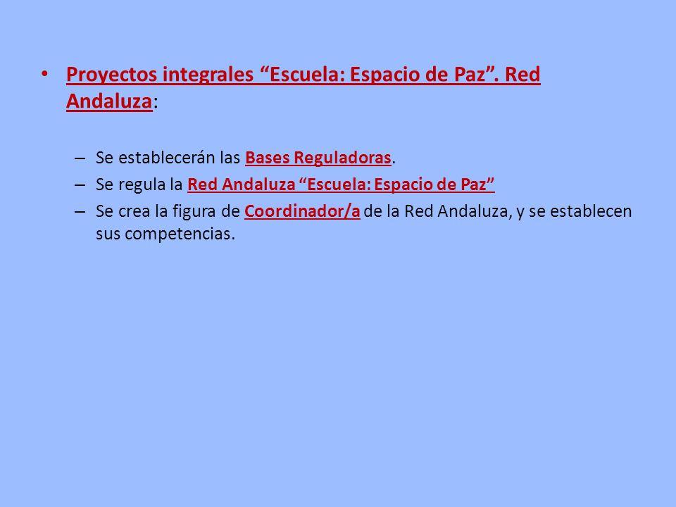 Proyectos integrales Escuela: Espacio de Paz . Red Andaluza: