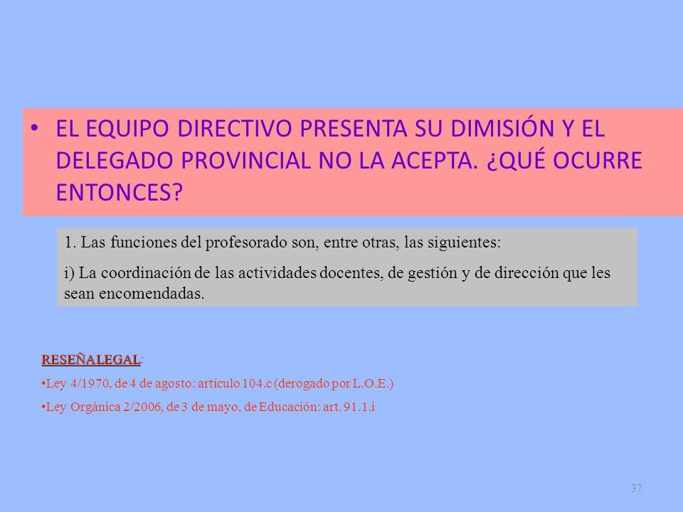 EL EQUIPO DIRECTIVO PRESENTA SU DIMISIÓN Y EL DELEGADO PROVINCIAL NO LA ACEPTA. ¿QUÉ OCURRE ENTONCES