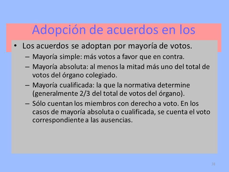 Adopción de acuerdos en los órganos colegiados