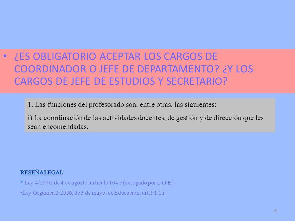¿ES OBLIGATORIO ACEPTAR LOS CARGOS DE COORDINADOR O JEFE DE DEPARTAMENTO ¿Y LOS CARGOS DE JEFE DE ESTUDIOS Y SECRETARIO