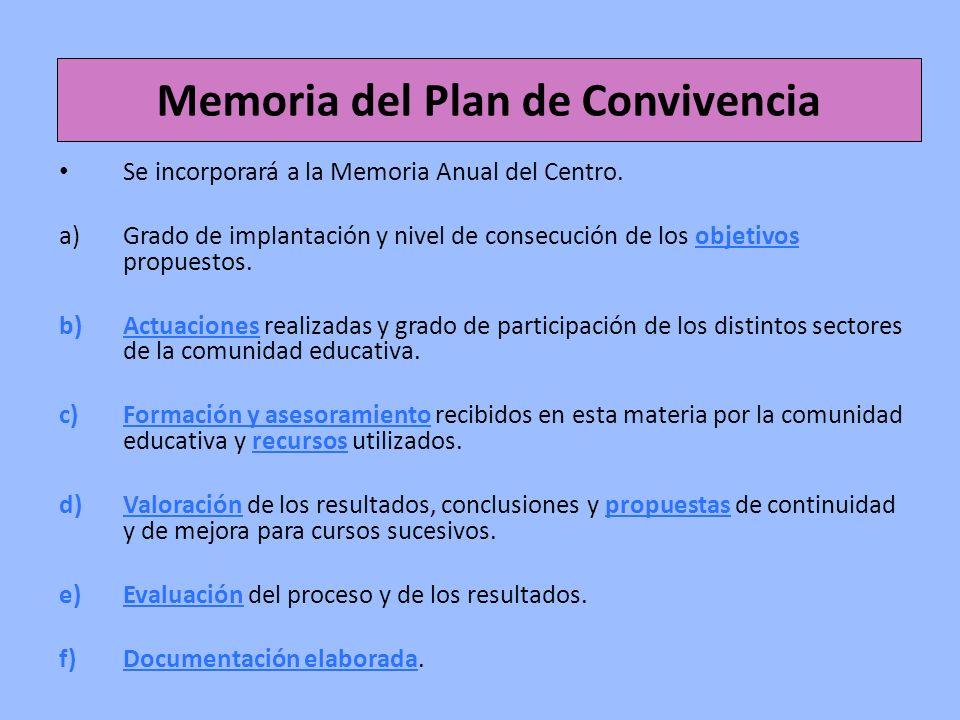 Memoria del Plan de Convivencia