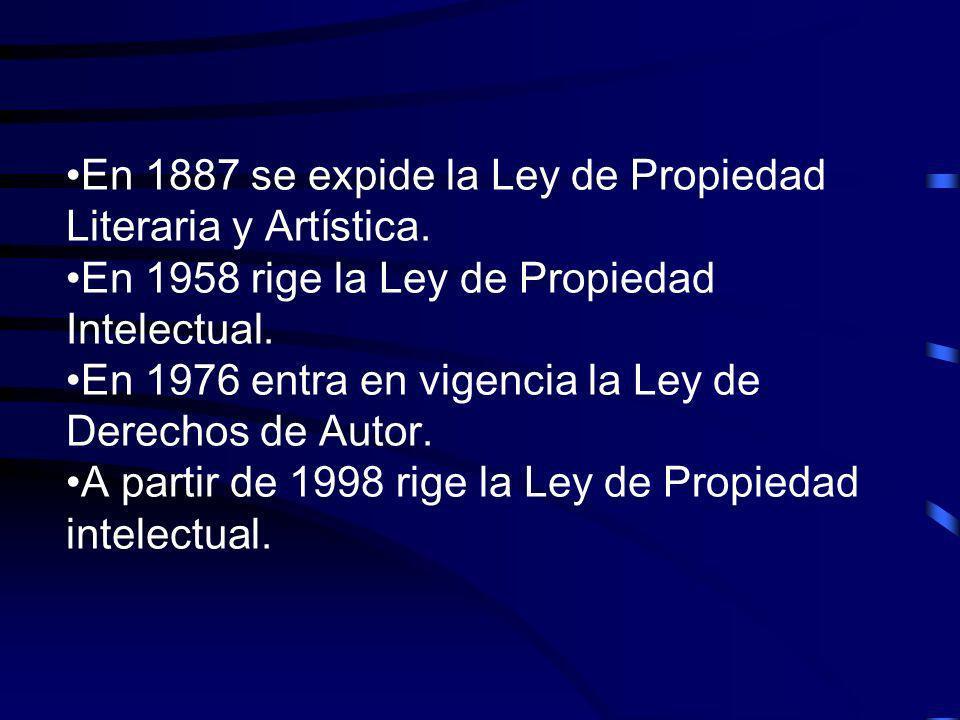 En 1887 se expide la Ley de Propiedad