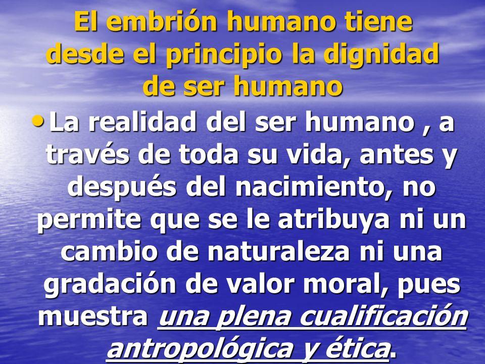 El embrión humano tiene desde el principio la dignidad de ser humano
