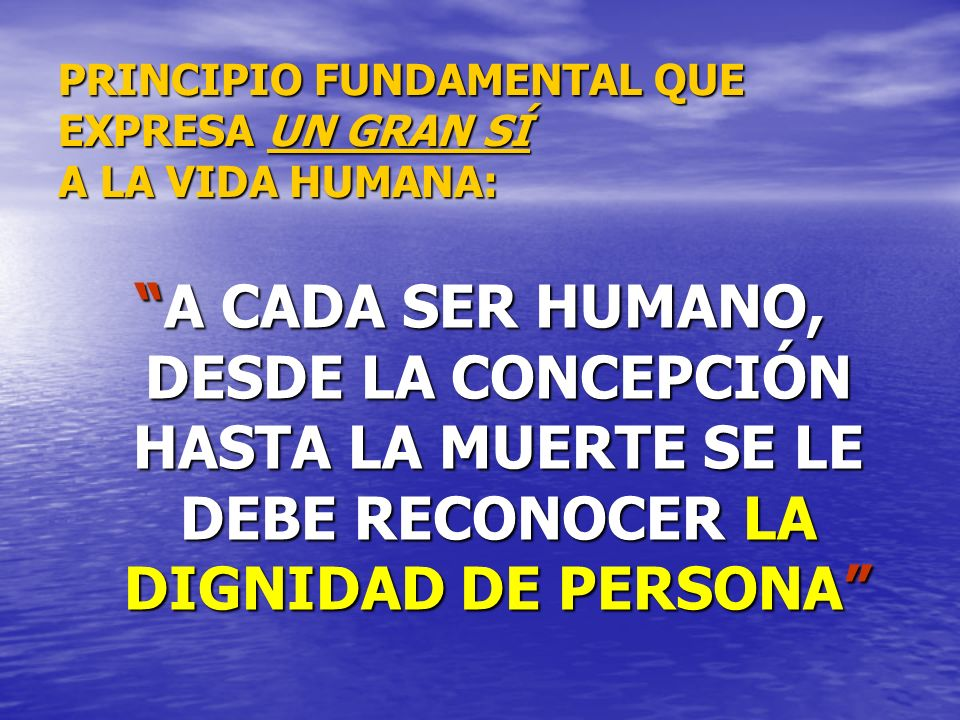 PRINCIPIO FUNDAMENTAL QUE EXPRESA UN GRAN SÍ A LA VIDA HUMANA: