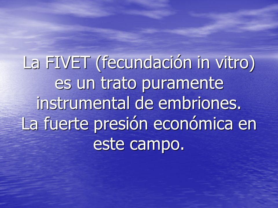 La FIVET (fecundación in vitro) es un trato puramente instrumental de embriones.