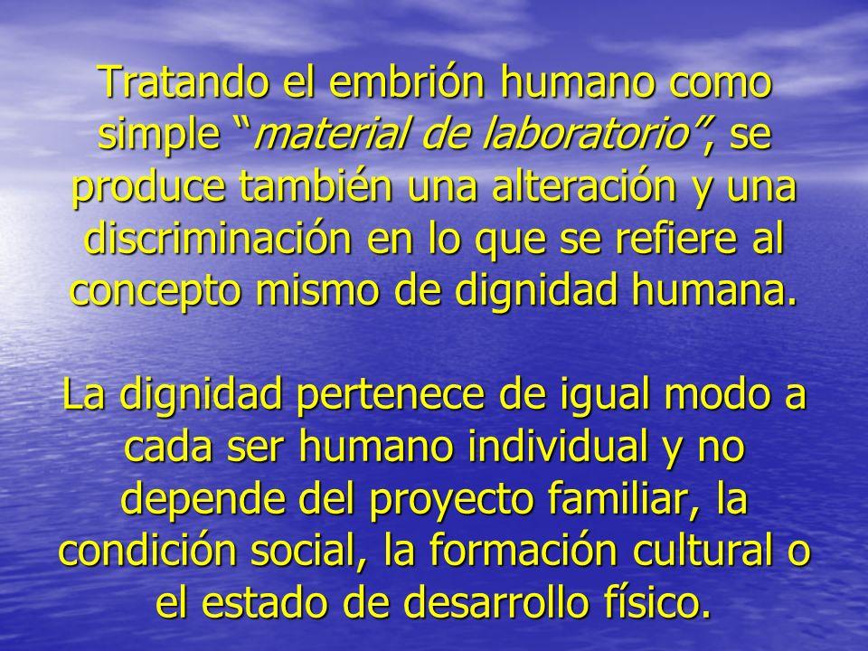 Tratando el embrión humano como simple material de laboratorio , se produce también una alteración y una discriminación en lo que se refiere al concepto mismo de dignidad humana.