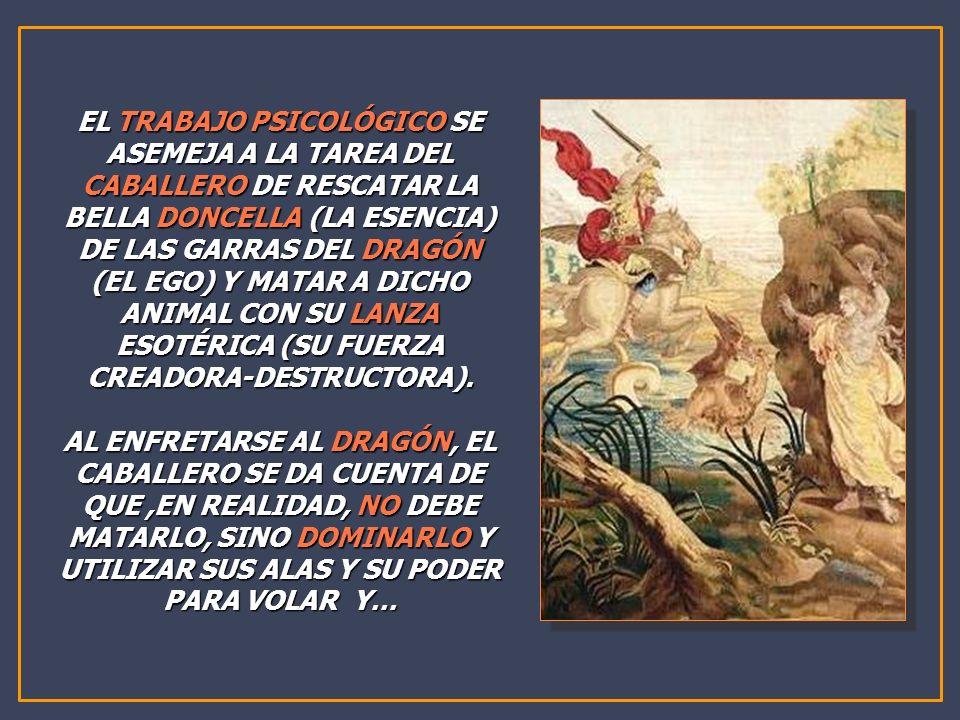 EL TRABAJO PSICOLÓGICO SE ASEMEJA A LA TAREA DEL CABALLERO DE RESCATAR LA BELLA DONCELLA (LA ESENCIA) DE LAS GARRAS DEL DRAGÓN (EL EGO) Y MATAR A DICHO ANIMAL CON SU LANZA ESOTÉRICA (SU FUERZA CREADORA-DESTRUCTORA).