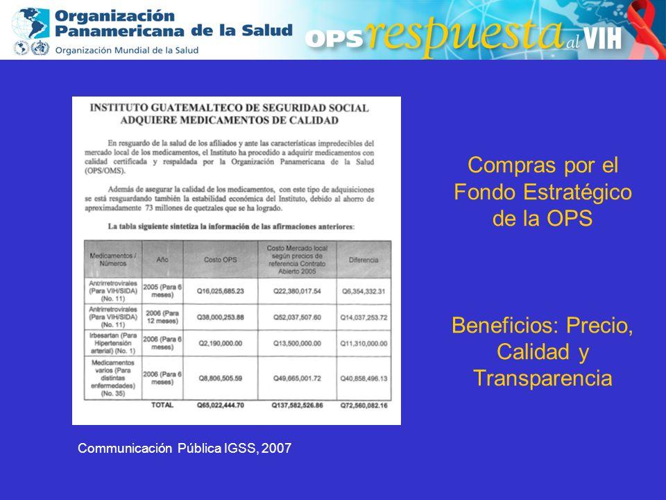 Compras por el Fondo Estratégico de la OPS Beneficios: Precio, Calidad y Transparencia
