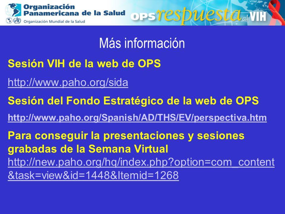 Más información Sesión VIH de la web de OPS http://www.paho.org/sida