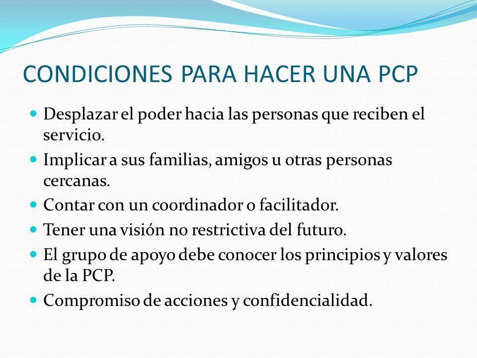 CONDICIONES PARA HACER UNA PCP