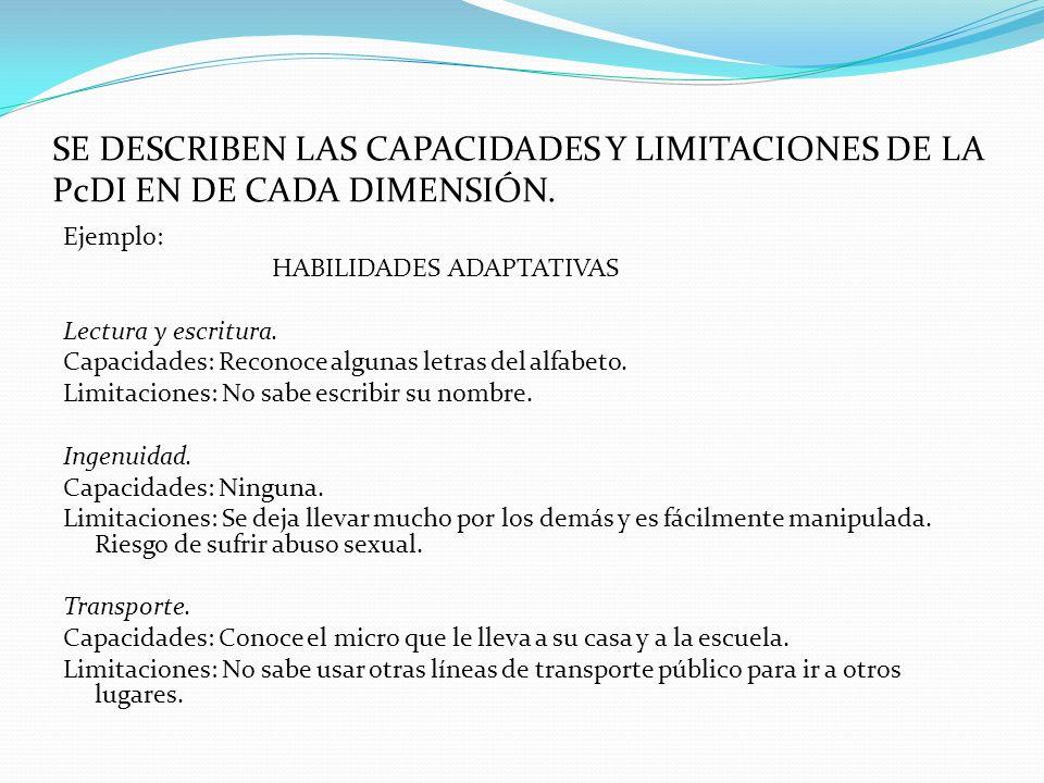 SE DESCRIBEN LAS CAPACIDADES Y LIMITACIONES DE LA PcDI EN DE CADA DIMENSIÓN.