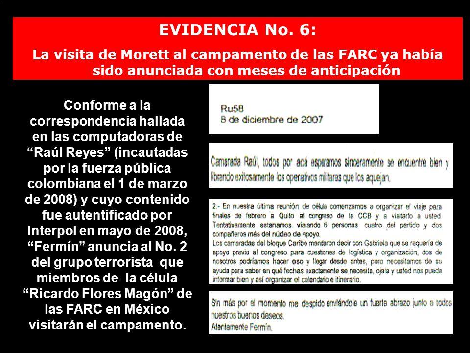 EVIDENCIA No. 6: La visita de Morett al campamento de las FARC ya había sido anunciada con meses de anticipación.