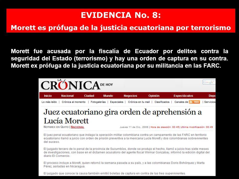 Morett es prófuga de la justicia ecuatoriana por terrorismo