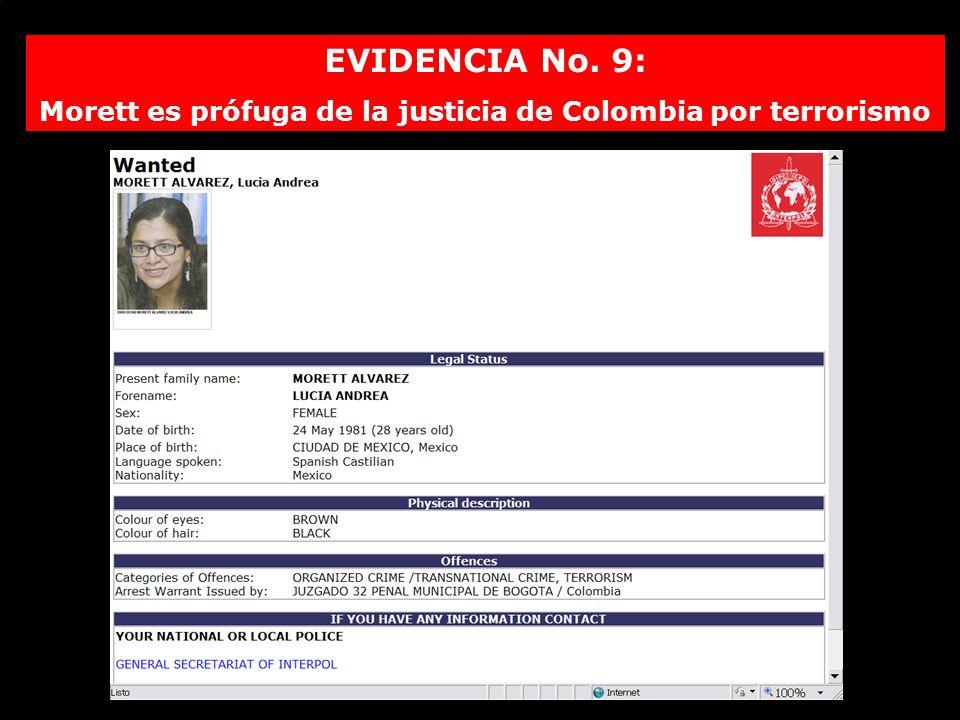 Morett es prófuga de la justicia de Colombia por terrorismo