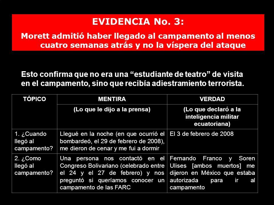 EVIDENCIA No. 3: Morett admitió haber llegado al campamento al menos cuatro semanas atrás y no la víspera del ataque.