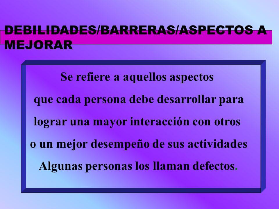 DEBILIDADES/BARRERAS/ASPECTOS A MEJORAR