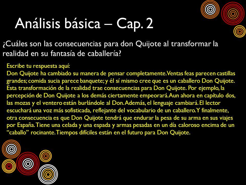 Análisis básica – Cap. 2 ¿Cuáles son las consecuencias para don Quijote al transformar la realidad en su fantasía de caballería