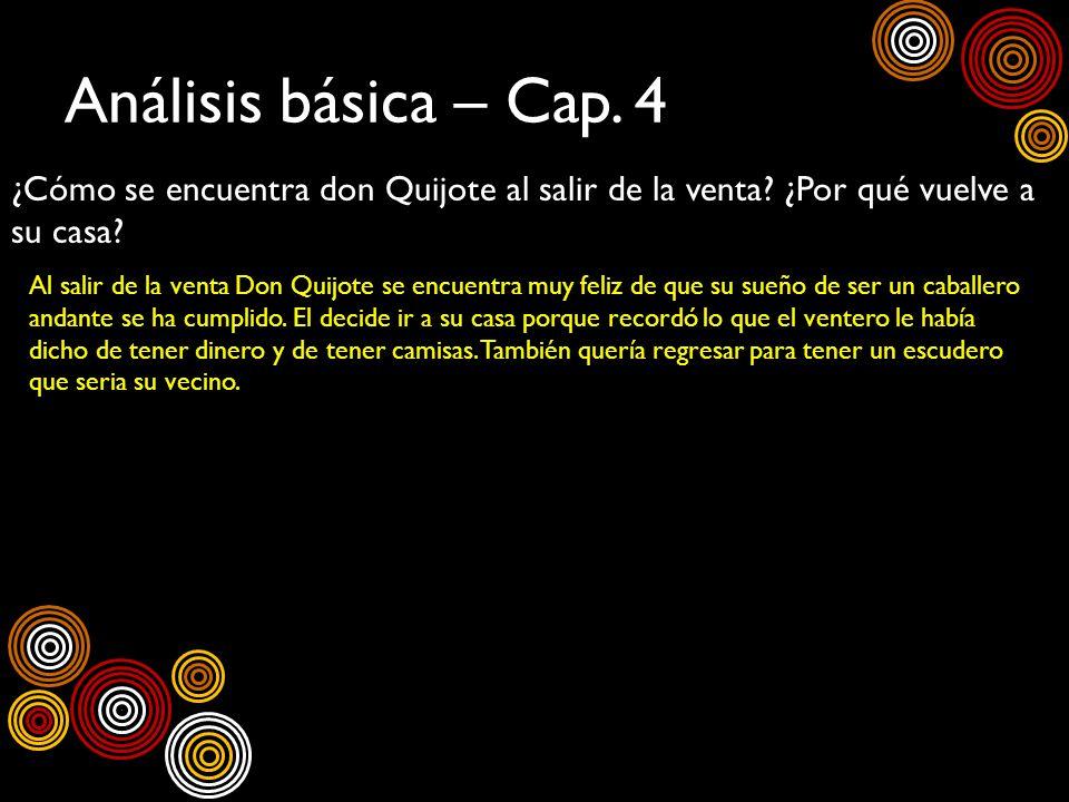 Análisis básica – Cap. 4 ¿Cómo se encuentra don Quijote al salir de la venta ¿Por qué vuelve a su casa
