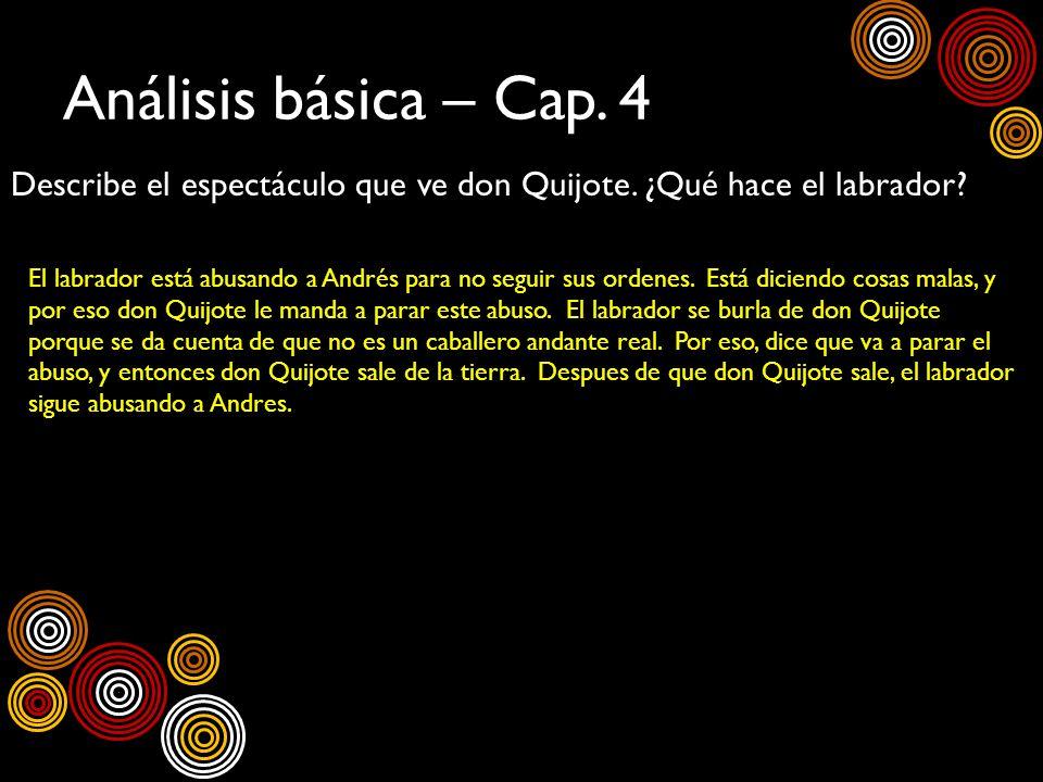 Análisis básica – Cap. 4 Describe el espectáculo que ve don Quijote. ¿Qué hace el labrador