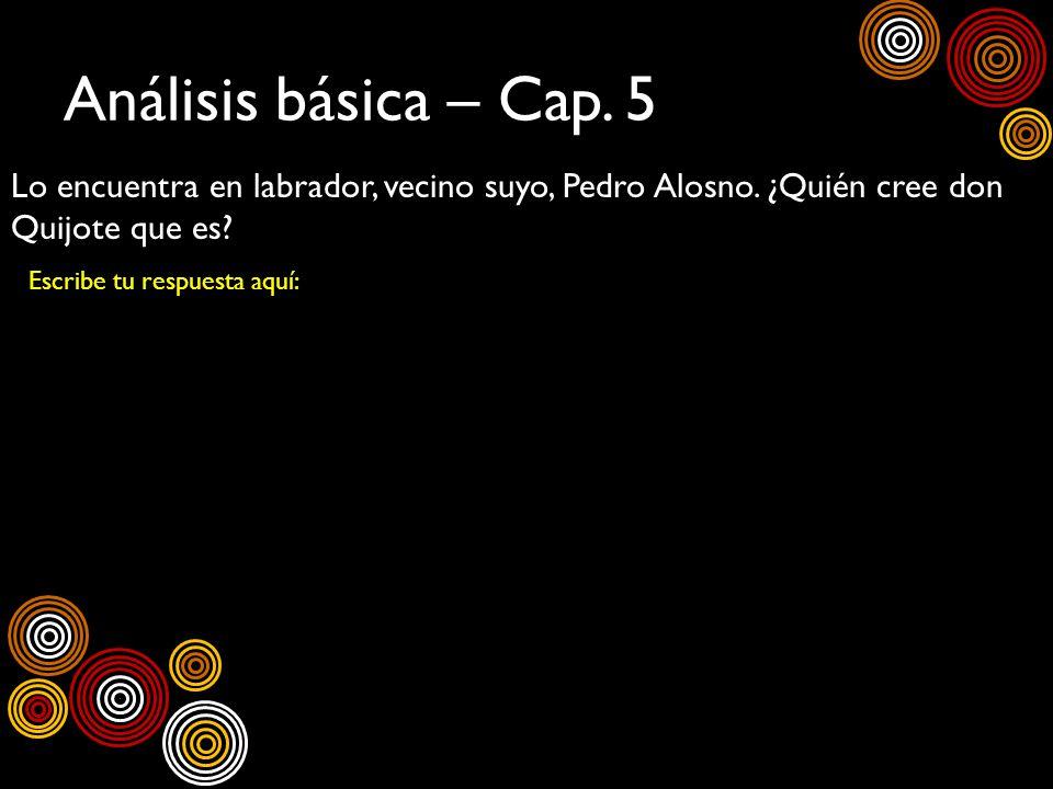 Análisis básica – Cap. 5 Lo encuentra en labrador, vecino suyo, Pedro Alosno. ¿Quién cree don Quijote que es