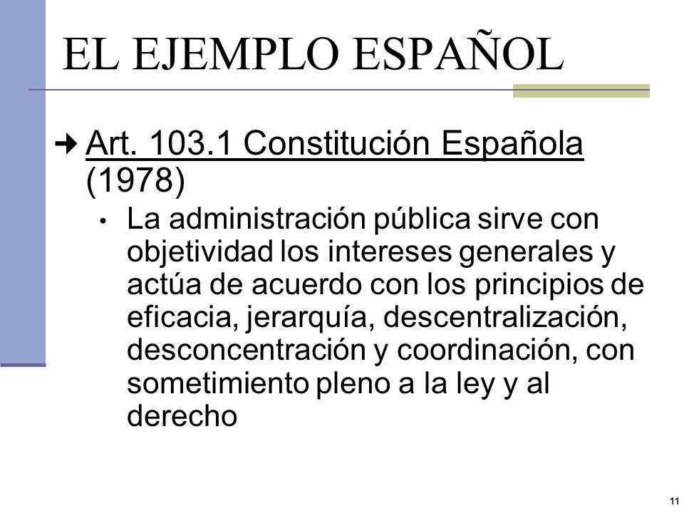 EL EJEMPLO ESPAÑOL Art. 103.1 Constitución Española (1978)
