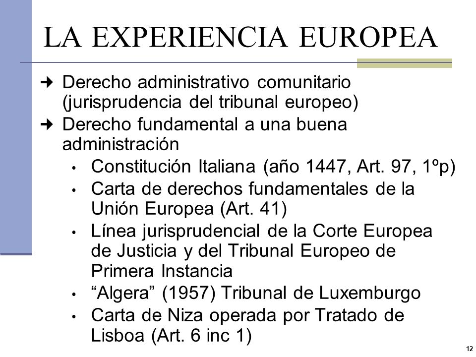 LA EXPERIENCIA EUROPEA