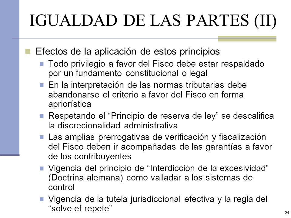 IGUALDAD DE LAS PARTES (II)